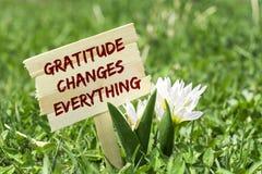 La gratitud cambia todo imagen de archivo libre de regalías