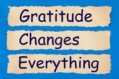 La gratitud cambia todo fotos de archivo libres de regalías