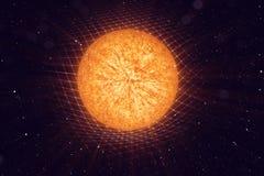 la gravité de Sun de l'illustration 3D plie l'espace autour de elle avec l'effet de bokeh La gravité de concept déforme la grille illustration libre de droits