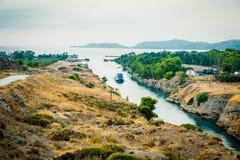 La Grecia, Corinto, agosto 2016 il canale di Corinto collega il golfo di Corinto con il golfo di Saronic nel mar Egeo Fotografia Stock