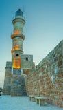 La Grecia, Creta, luce di tramonto del paesaggio della casa leggera di Chania Fotografia Stock