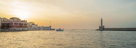 La Grecia, Creta, luce di tramonto del paesaggio di Chania Fotografia Stock Libera da Diritti