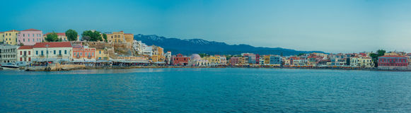 La Grecia, Creta, luce di tramonto del paesaggio di Chania Immagine Stock Libera da Diritti