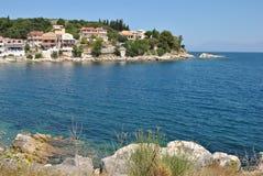 La Grecia, isola di Corfù, villaggio di Kassiopi fotografia stock
