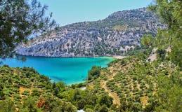 La Grecia, isola di Thassos bella vista dalle montagne all'oceano ed alla natura vista panoramica della natura in Grecia immagine stock libera da diritti
