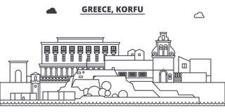 La Grecia, linea illustrazione di Korfu di vettore dell'orizzonte La Grecia, paesaggio urbano lineare con i punti di riferimento  illustrazione vettoriale