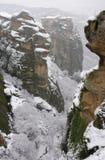 La Grecia. Meteora. Monastero innevato di Varlaam Fotografia Stock Libera da Diritti