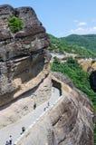 La Grecia, meteore, la strada al monastero della st Varlaam Fotografie Stock