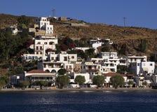 La Grecia, Patmos Skala dal mare Fotografia Stock Libera da Diritti