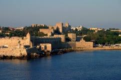 La Grecia, Rodi all'indicatore luminoso di alba Immagini Stock Libere da Diritti
