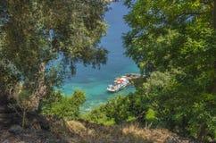 La Grecia, spiaggia di Lichnos - di Parga - Mar Ionio immagini stock libere da diritti