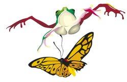 La grenouille saute sur le papillon Photographie stock