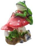 La grenouille sur un agaric de mouche Image libre de droits