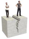 La grieta partida del divorcio de los pares de la mujer 3D del hombre se rompe para arriba Imagen de archivo libre de regalías