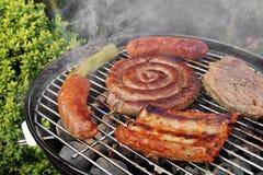 La griglia del barbecue con i vari generi di carne, fa un picnic Concep all'aperto Immagine Stock Libera da Diritti