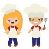 La griglia del Cookout di vettore cucina le illustrazioni della ragazza e del ragazzo fotografia stock