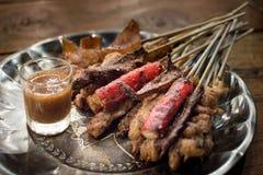 La griglia della carne di maiale con le spezie chiama il ` di Mha-Lha del ` Immagine Stock