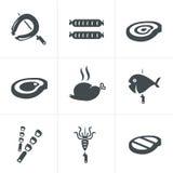 La griglia ed il barbecue hanno collegato le icone messe Fotografie Stock Libere da Diritti