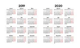La griglia tedesca semplice del calendario 2019 2020, comincia lunedì illustrazione vettoriale
