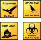 La gripe aviar alerta iconos ilustración del vector