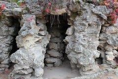 La grotta è coperta di foglie ingiallite immagine stock