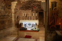 La grotta dell'annuncio a Nazaret Immagine Stock Libera da Diritti