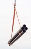 La gru funziona (scarico dei tubi) Immagini Stock Libere da Diritti