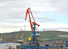La gru a portale del carico nel porto di commercio di Murmansk Fotografia Stock