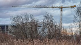 La grue à tour jaune sur un fond des nuages photo libre de droits