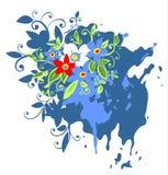 La grunge bleue fleurit le fond Images stock