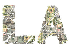 LA grunge text with dollars Royalty Free Stock Photography