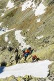 La guía de la montaña toma medidas en la nieve Fotos de archivo libres de regalías