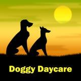 La guardería del perrito representa el pasto y el perrito de los colmillos stock de ilustración