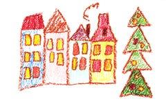 La guarder?a de los ni?os con la mano del profesor dibujada, al aire libre en invierno con las estaciones del mu?eco de nieve ais libre illustration