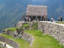 La guardia della cittadella di Machu Picchu nel Perù, Sudamerica Fotografie Stock Libere da Diritti