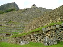 La guardia House alla cima di Machu Picchu Inca Citadel, Cusco, Urubamba, Perù fotografia stock