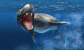 La guarnizione del leopardo sotto l'acqua con la fine su sulla testa ed apre la bocca. illustrazione vettoriale