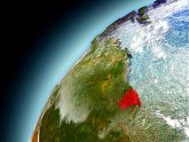 La Guayana Francesa de la órbita de Earth modelo Imagen de archivo libre de regalías