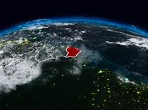 La Guayana Francesa en la noche Fotos de archivo
