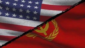 La guerra fría América CONTRA las banderas de Rusia soviética almacen de metraje de vídeo