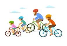 La guida allegra sveglia della famiglia del fumetto bikes le biciclette, ciclanti l'illustrazione insieme isolata di vettore illustrazione vettoriale