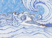 La guida del surfista del nuotatore ondeggia l'arte dell'acquerello dell'oceano di fantasia della sirena Immagini Stock Libere da Diritti