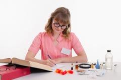 La guida della lettura del farmacista scrive le note in un taccuino Fotografia Stock Libera da Diritti