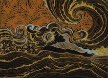 La guida misteriosa del surfista della donna del nuotatore di mezzanotte ondeggia l'arte dell'acquerello dell'oceano di fantasia  Immagini Stock Libere da Diritti