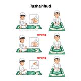 La guida musulmana di posizione di preghiera per gradi esegue dal ragazzo che si siede e che alza il dito indice con la posizione Immagini Stock Libere da Diritti