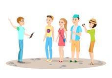 La guida turistica ed il gruppo di turisti Fotografie Stock