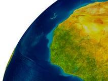 La Guinée sur le globe Images libres de droits