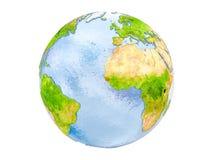 La Guinea-Bissau sul globo isolato Immagine Stock