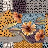 La guirlande d'aquarelle d'automne sur le fond géométrique avec des fleurs, feuilles, gribouille Photo stock