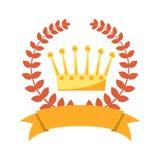 La guirlande de laurier, rois d'or couronnent et ruban vide illustration stock